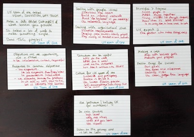 Hand-written index cards with my notew from The User Experience of One