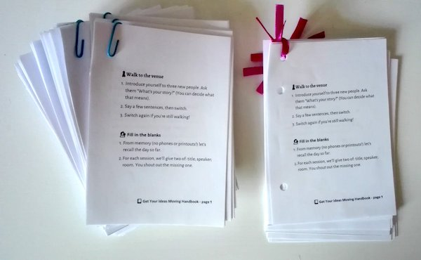 Cute little printed copies of the Get Your Ideas Moving handbook that we used