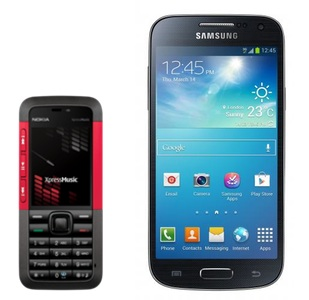 Mobile: an old Nokia phone and a new Samsung phone.