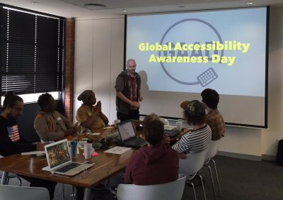 Me at a Global Accessiblity Awareness Day workshop for CTFEDs